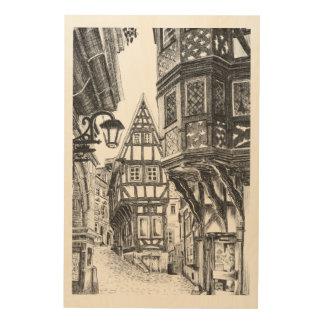 Townscape medieval impresión en madera