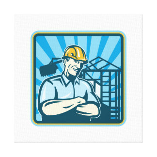 Trabajador del capataz del ingeniero de construcci impresion en lona