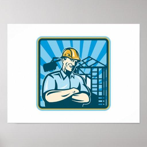Trabajador del capataz del ingeniero de construcci poster