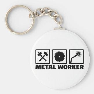 Trabajador del metal llavero redondo tipo chapa