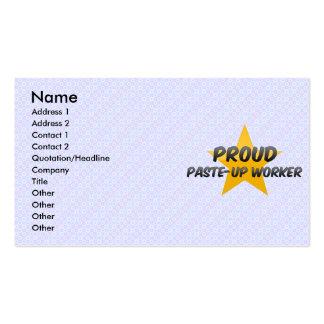 Trabajador orgulloso de los relieves plantilla de tarjeta de negocio