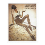 Trabajador soviético feliz 1919 postal