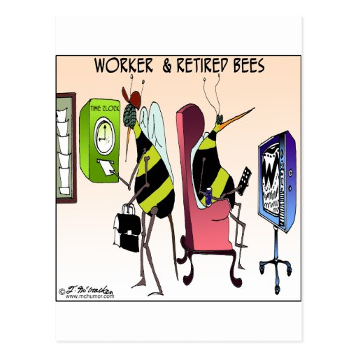 Trabajador y abeja jubilada tarjeta postal