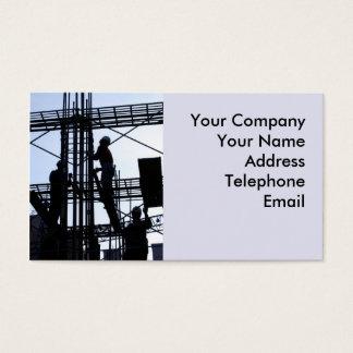 Trabajadores de construcción en el andamio tarjeta de negocios