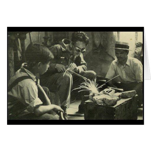 Trabajadores del vintage felicitación