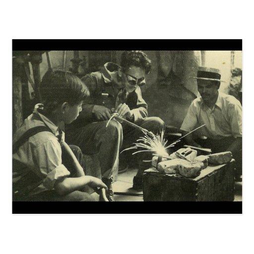 Trabajadores del vintage tarjeta postal