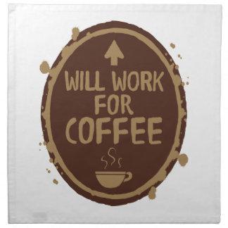 Trabajará para el café servilletas imprimidas