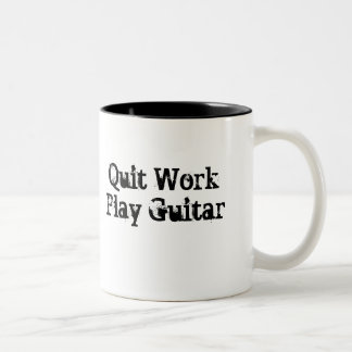 Trabajo abandonado, taza de café de la guitarra