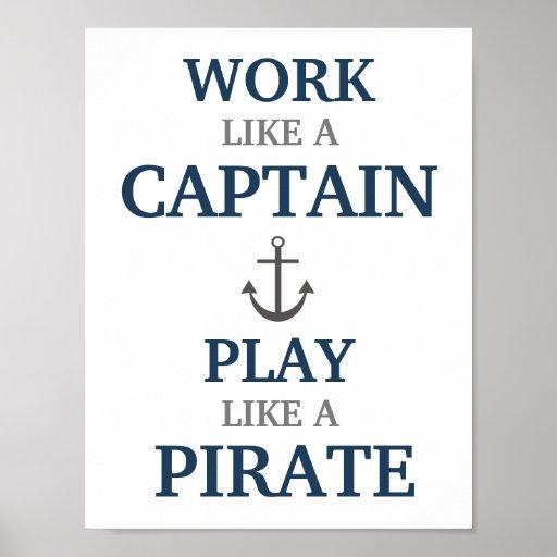 Trabajo como un capitán Nautical Nursery Print Impresiones