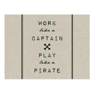 Trabajo como un capitán Play Like A Pirate Postal
