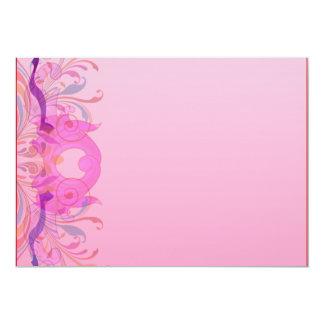 Trabajo de arte floral expresivo en rosa invitación 12,7 x 17,8 cm