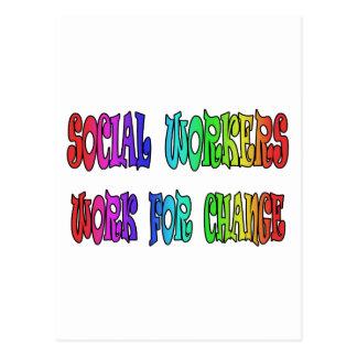 Trabajo de los asistentes sociales para el cambio tarjetas postales
