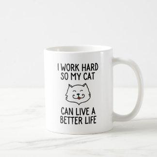 Trabajo difícilmente así que mi gato puede vivir taza de café