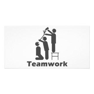 Trabajo en equipo - mercancía de motivación tarjeta fotográfica personalizada