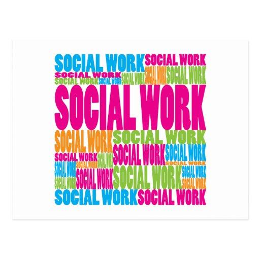 Trabajo social colorido postal