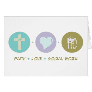 Trabajo social del amor de la fe tarjeta de felicitación