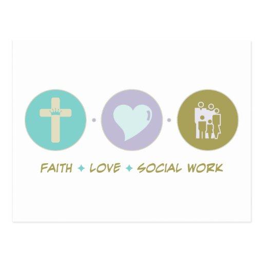 Trabajo social del amor de la fe postales