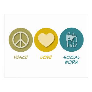 Trabajo social del amor de la paz postal
