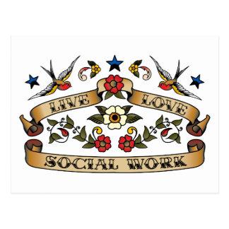 Trabajo social del amor vivo postal