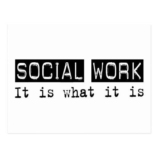 Trabajo social es tarjeta postal