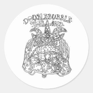 Trabajo y problema dobles de la burbuja pegatina redonda
