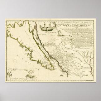 Trace mostrar California como isla, 1720 Póster