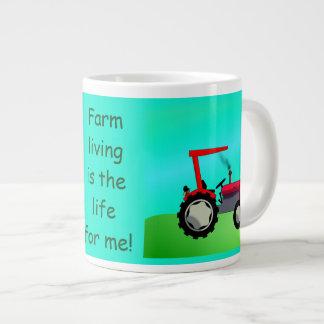 Tractor de granja rojo personalizado del vintage taza de café gigante