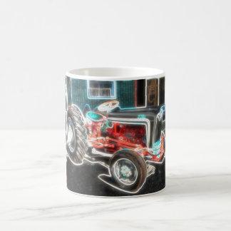 Tractor de neón taza de café