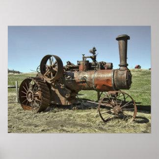 Tractor del vapor del pueblo fantasma póster