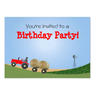 Tractor en la invitación del fiesta de la granja: