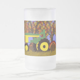 Tractor por los árboles y los pavos 1 del otoño jarra de cerveza esmerilada