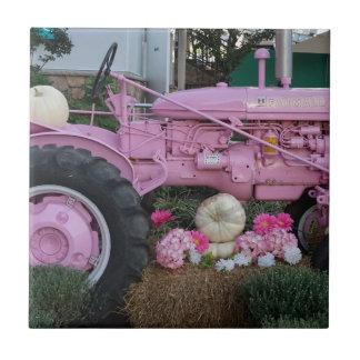 Tractor rosado azulejo de cerámica