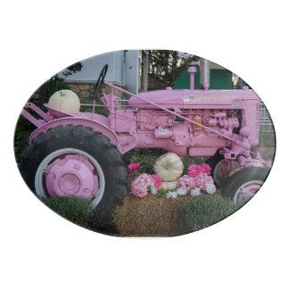 Tractor rosado bandeja de porcelana