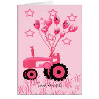 Tractor rosado de la fiesta de bienvenida al bebé tarjeta de felicitación