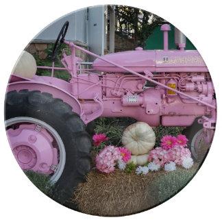 Tractor rosado plato de porcelana