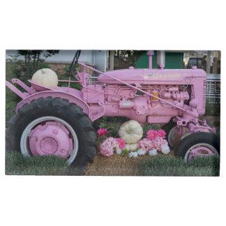 Tractor rosado soporte para tarjetas de mesa