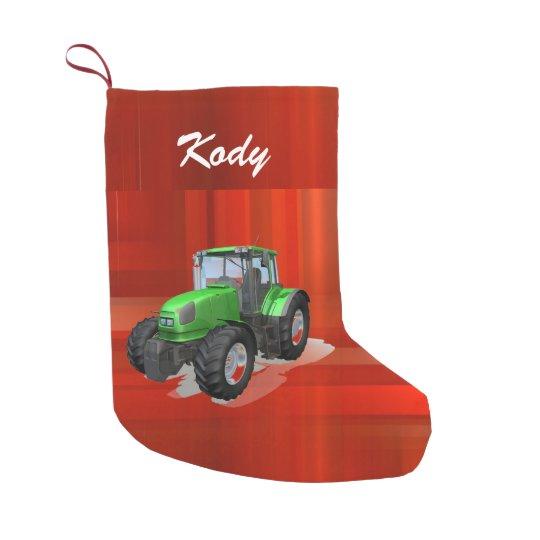 Tractor verde moderno personalizado en rojo calcetín de navidad pequeño