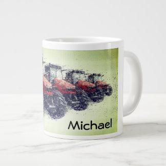 Tractores de granja rojos personalizados en una taza de café gigante
