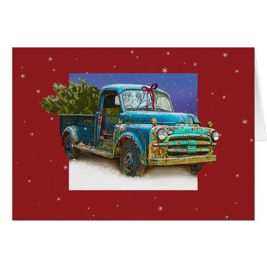 Traer a casa el árbol de navidad tarjeta de felicitación
