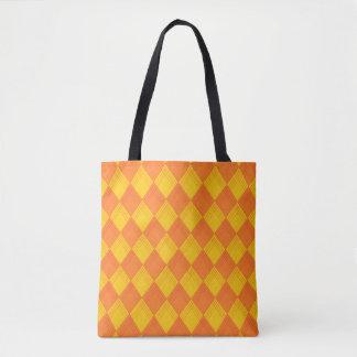 Tragetasche con modelo de rombo en anaranjado y bolso de tela
