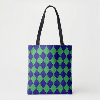 Tragetasche con modelo de rombo en azul y verde bolso de tela