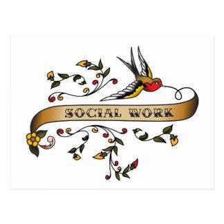Trago y voluta con el trabajo social postal