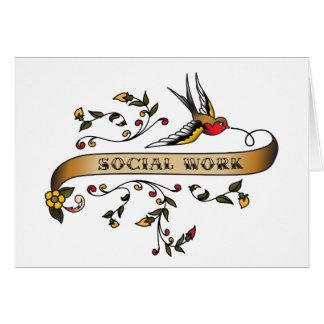 Trago y voluta con el trabajo social tarjeta de felicitación