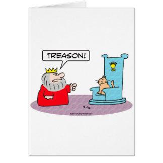traición del trono del gato del rey tarjeta de felicitación