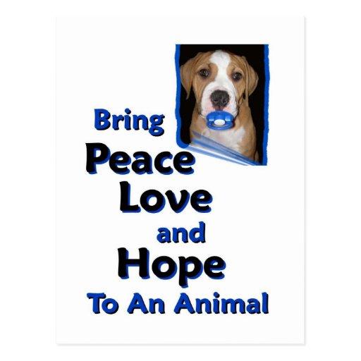 traiga el amor y la esperanza de la paz a un anima tarjetas postales