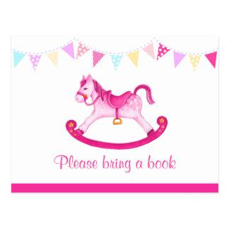 Traiga un libro - postal del rosa de la fiesta de
