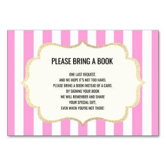 Traiga un libro - tarjetas blancas rosadas de la