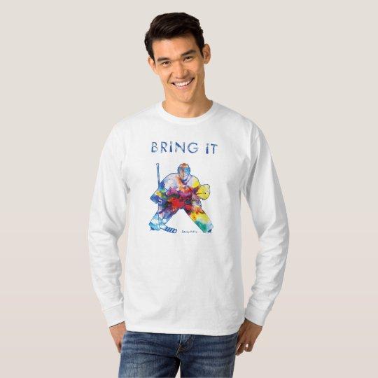 Tráigale la acuarela del portero del hockey camiseta