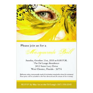 Traje amarillo Halloween de la bola de la máscara Invitación 12,7 X 17,8 Cm