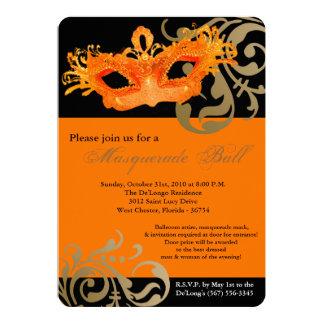 Traje anaranjado Halloween de la bola de la Invitación 12,7 X 17,8 Cm